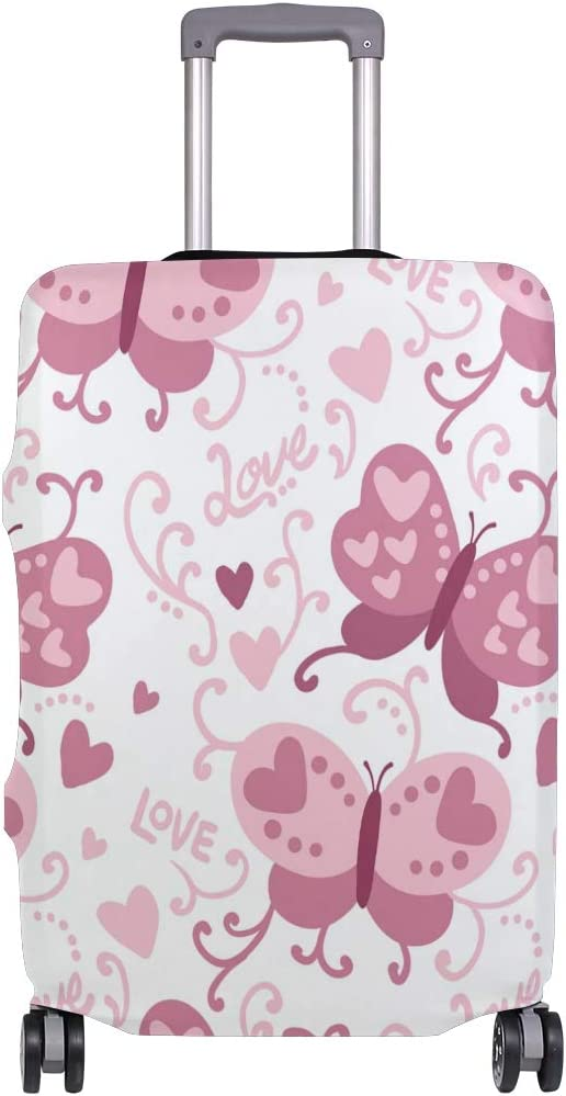 Cute 3D Pink Butterflies And Hearts Pattern Luggage Protector Travel Luggage Cover Trolley Case Protective Cover Fits 18-32 Inch