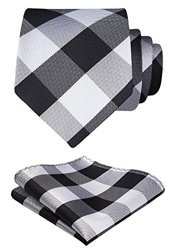 HISDERN Plaid Tie Handkerchief Woven Classic Men's Necktie & Pocket Square Set (Black & Gray)
