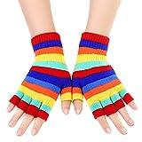 KIQ Rainbow Stripes Winter Warm Fingerless Knitted Gloves