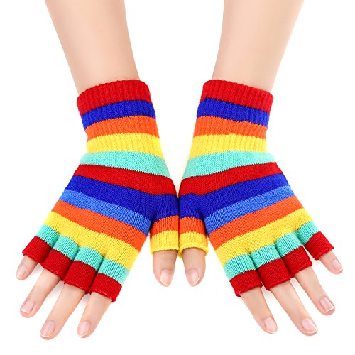 Rainbow Fingerless Gloves (KIQ Rainbow Stripes Winter Warm Fingerless Knitted Gloves)