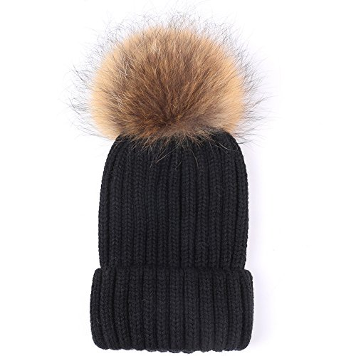 Valpeak Womens Winter Fur Hats Real Large Detachable Raccoon Fur Pom Pom Beanie Hat (Black With Raccoon)