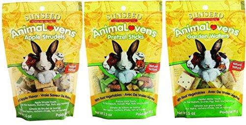 (Sunseed Sunthing Special Animal Lovens Natural Treat 3 Flavor Variety Bundle: (1) Apple Strudels, (1) Pretzel Sticks, and (1) Garden Wafers, 3.5 Oz. Ea.)