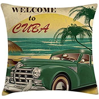 Ambesonne Retro Throw Pillow Cushion Cover, Nostalgic Welcome to Cuba Print with Classic Car Beach Ocean Palm Trees, Decorative Square Accent Pillow Case, 18