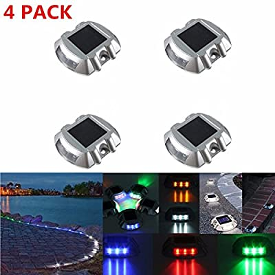 SOLMORE Solar Dock Driveway Path Warning Lights, 4 Pack LED Solar Lamps Waterproof for Outdoor Road Pathway Yard Deck Light
