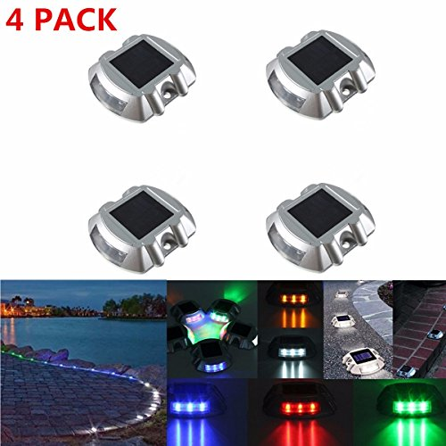Solar Dock Driveway Path Warning Lights, SOLMORE 4 Pack LED Solar Lamps Waterproof for Outdoor Road Pathway Yard Deck Light