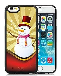 Custom iPhone 6 Case,Christmas Snowman Black iPhone 6 4.7 Inch TPU Case 11