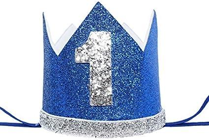 Amazon.com: maticr corona de purpurina de primer cumpleaños ...