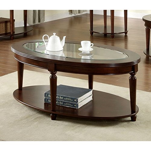 Traditional Crescent Dark Cherry Glass Top Oval Coffee Table, Assembly Required IDF-4131OC - 19 inches High x 28 inches Wide x 48 inches (Cherry Wide Coffee Table)
