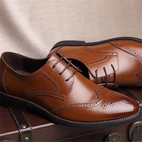Cinturón color color Estilo Tamaño Cuero Talla Genuino Eu 2018 43 Negro Casual Fuweiencore Mens 41 Zapatos Británico Oxford Marrón Business Brogue Tamaño Ue wvU40Oq