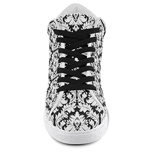 Artsadd Black and White Damask Pattern Chukka Canvas Shoes For Women(Model003) eqyh1