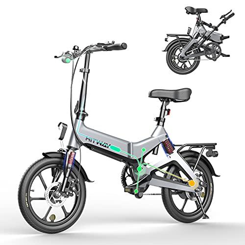 HITWAY Elektrische fiets Lichtgewicht 250W Elektrische Opvouwbare Pedaal Assist E-Bike met 7,5Ah batterij, 16 inch, voor…