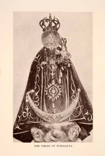 1929 Costumes (1929 Halftone Print Costume Virgin Virgen Fuensanta Portrait Throne Religion - Original Halftone Print)