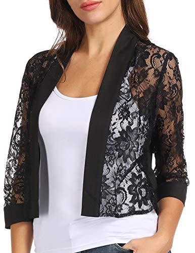 Juniors Splicing Lace Bolero Jacket Cotton Office Wear(Black,S)