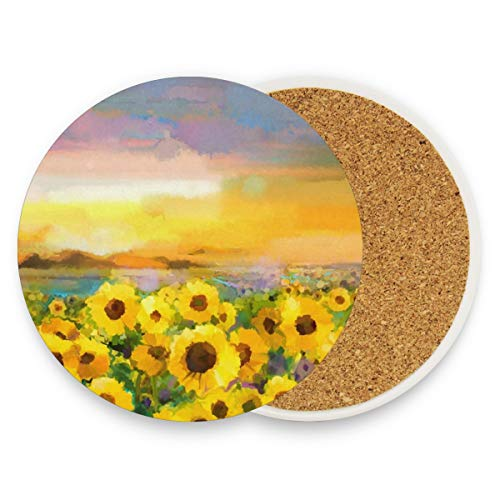 - Oil Painting Yellow Sunflower Coasters, Protect Your Furniture From Stains,Coffee, Wood Coasters Funny Housewarming Gift,Round Cup Mat Pad For Home, Kitchen Or Bar Set Of 2