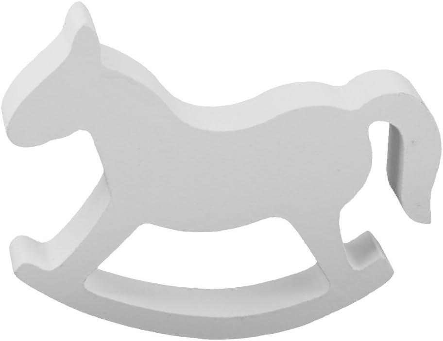 DaHanBL - Pequeño balancín de madera para caballo de boda, decoración del hogar, juguetes para niños (blanco)