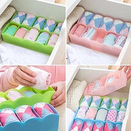 5-Grid Plastic Storage Box Closet Dresser Drawer Divider Basket Bins Cosmetic Organizer for Underwear, Bras, Socks, Ties, Scarves (Blue) by Baost (Image #1)