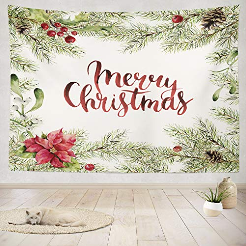 - ASOCO Tapestry Wall Handing Watercolor Merry Christmas Fir Branch with Holly Poinsettia and Merry Wall Tapestry for Bedroom Living Room Tablecloth Dorm 60X80 Inches