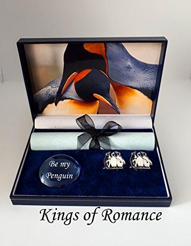 pebblez and penguinz penguin cufflink gift box kings of romance