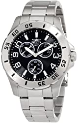 Invicta Men's 1442 Black Dial Stainless-Steel Watch