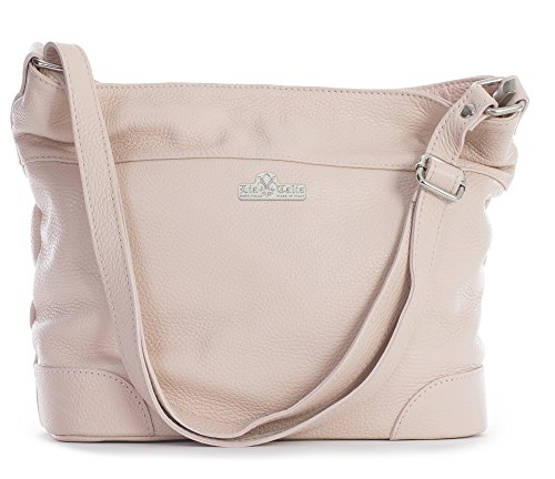 Pale Handbag Liatalia Shoulder Medium Genuine Hobo Womens Size Leather Jane Pink Italian 4x8qvrwf4