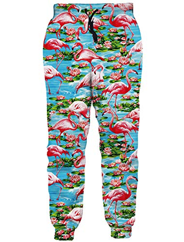 RAISEVERN Unisex Joggers Pants Tropical Flamingo Printed Sweatpants Hawaiian Gym Trousers with Pocket for Men Women