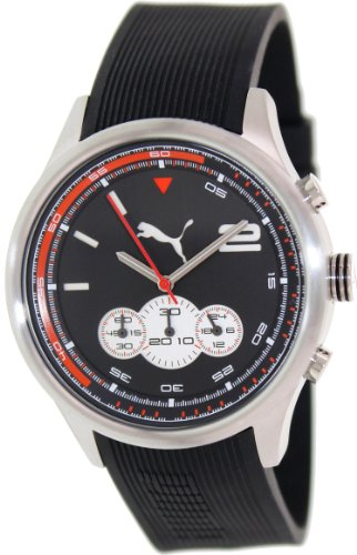 Puma Men's Motor PU102741002 Black Rubber Quartz Watch with Black Dial
