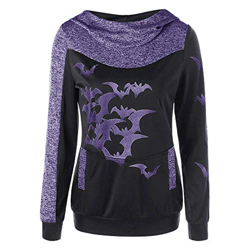 Inverlee Women Halloween Party Bats Print Long Sleeve Hooded Tops Pullover Sweatshirt by Inverlee Blouse