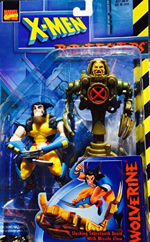 - X Men Wolverine Action Figure VS. Slashing Sabretooth Droid with Missile Claw Action Figure - Marvel Comics Robot Fighters