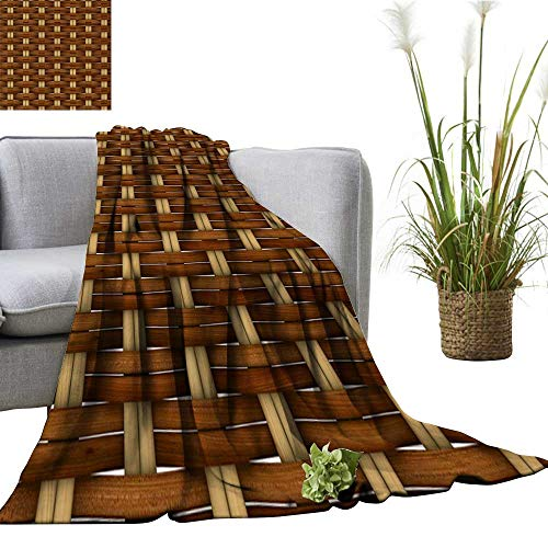 - Faux Fur Throw Blanket Abstract Decorative Wooden Textured Basket Weaving Image All Season Light Weight Living Room 55