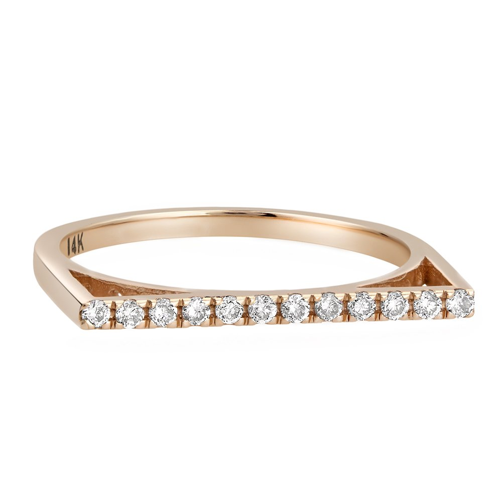 Rose Gold Wedding Band 0.15 cttw Diamond Pave Set Flat Top Anniversary Ring