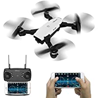 LE-IDEA Foldable 6 Axis Gyro With 720P 2MP HD Camera Quadcopter Headless Mode; FPV RC Toy LED Light White Drone for Kids,Beginner Selfie