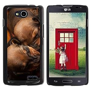 PC/Aluminum Funda Carcasa protectora para LG OPTIMUS L90 / D415 Puppies Sleeping Brown Chesapeake Dog / JUSTGO PHONE PROTECTOR