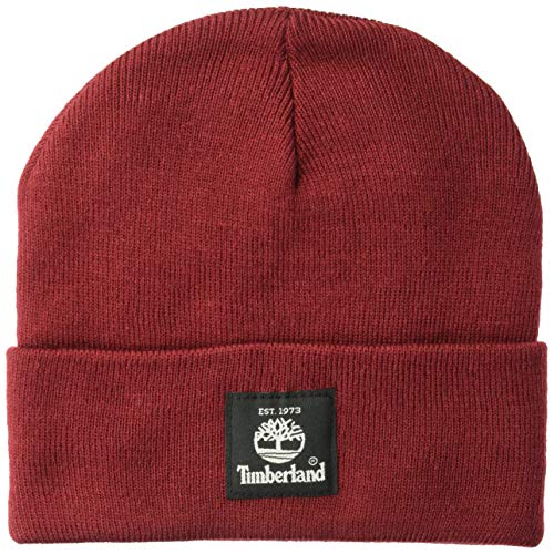 Timberland Men's Short Watch Cap with Woven Label, Pomegranate, One Size (Pomegranate Hat)