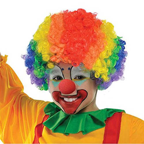 LOAVER Clown Wig Synthetic Rainbow Curly Wig with Red Clown Noses for Costume (Celebrity Baby Halloween Costumes)