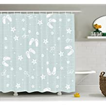Aqua Shower Curtain by Ambesonne, Beach Theme Decor Sea Shells Starfishes Flip Flops Glasses Summer Holiday Image, Fabric Bathroom Decor Set with Hooks, 75 Inches Long, Seafoam and White