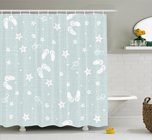 Ambesonne Aqua Shower Curtain, Beach Theme Decor Sea Shells Starfishes Flip Flops Glasses Summer Holiday Image, Fabric Bathroom Decor Set with Hooks, 75 Inches Long, Seafoam and White ()