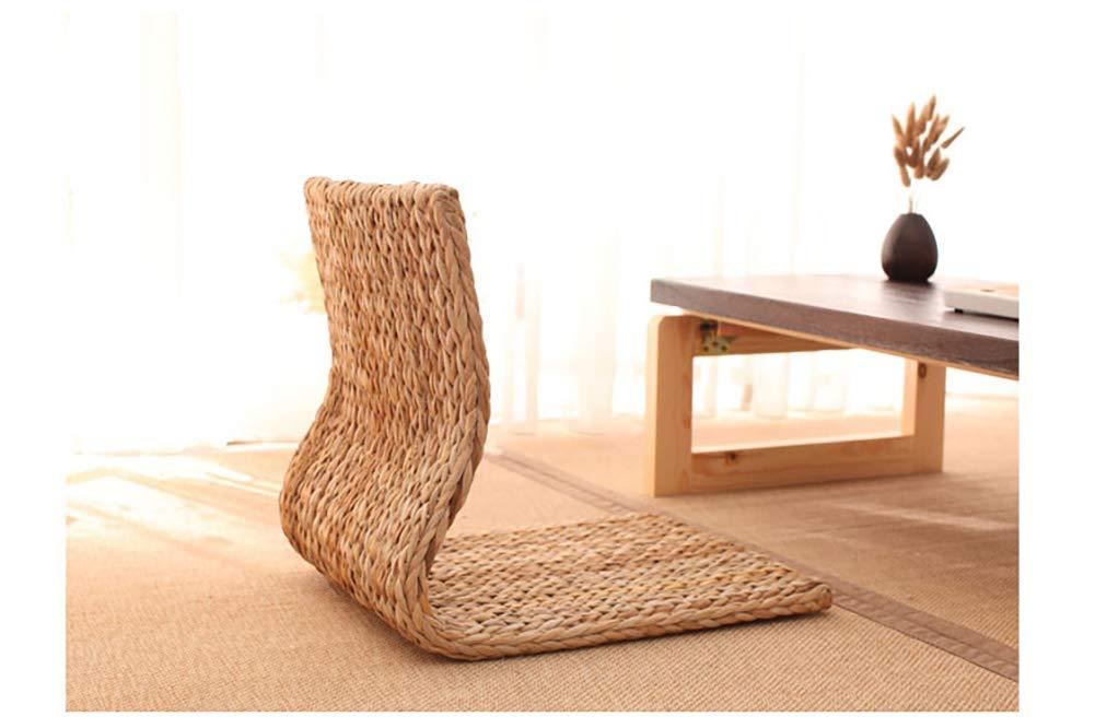 lettura Sedia da terra in stile giapponese per meditazione sedia da pavimento in tatami seduta in paglia lavorata a maglia con cuscino seminari guardare la TV o giochi,A sedia per schienale