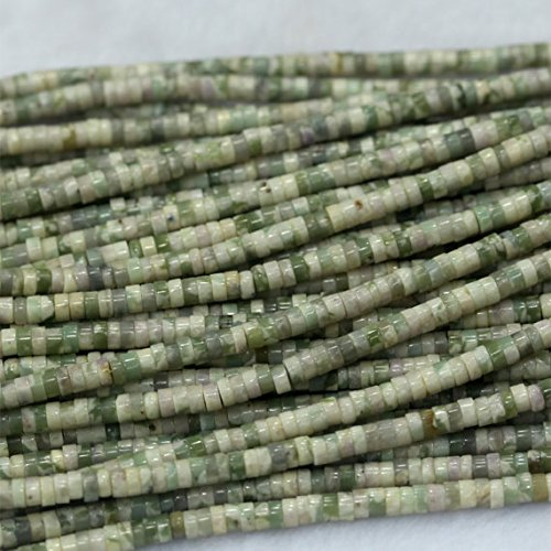 JP_Beads 1 Strands Natural Green White XiangHe Jade Peace Jasper Tube Loose Beads Barrel Column Small Wheel 2x4mm 03993 (Jade Barrel Beads)