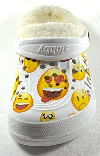 ACO Damen Clogs Pantoletten Lustige Smilies Gefüttert Futter Herausnehmbar Witzige Lustige Hausschuhe