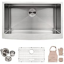 LORDEAR SLJ16003 Commercial 33 Inch 16 Gauge 10 Inch Deep Drop In Stainless Steel Undermout Single Bowl Farmhouse Apron Front Kitchen Sink, Brushed Nickel Farmhouse Kitchen Sink