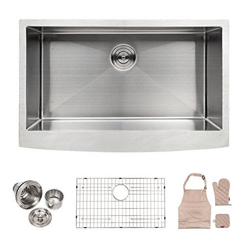 LORDEAR SLJ16003 Commercial 33 Inch 16 Gauge 10 Inch Deep Drop In Stainless Steel Undermout Single Bowl Farmhouse Apron Front Kitchen Sink, Brushed Nickel Farmhouse Kitchen Sink by Lordear
