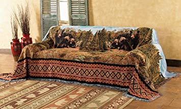 Black Forest Décor Black Bear Family Mountain Sofa Cover