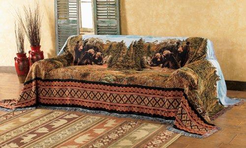 - Black Bear Family Mountain Lodge Sofa Cover - Lodge Furniture