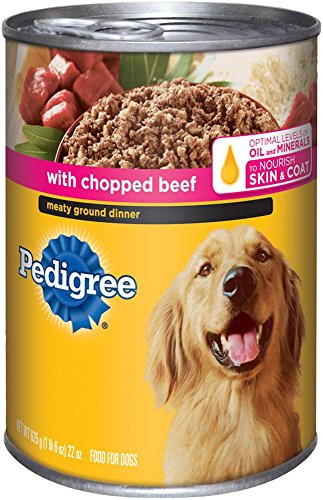 PEDIGREE Meaty Ground Dinner With Chopped Beef Canned Dog Food. Formulated To Meet the Nutritional Levels Established by the AAFCO Dog Food Nutrient Profiles For Maintenance.