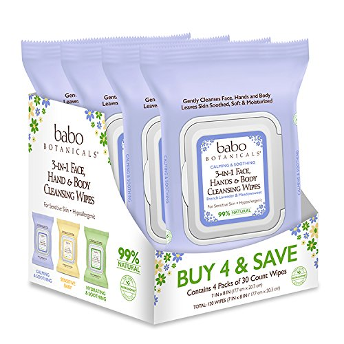Babo Botanicals 3-in-1 Calming Wipes, French Lavender/Meadowsweet, 30 Count (Pack of 4)