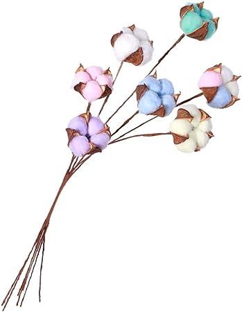 LIOOBO Ramas de Flores secas de algodón de Colores, Ramas Florales de Boda, Ramas de algodón para decoración del hogar, jardín, Manualidades: Amazon.es: Hogar