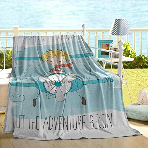 maisi Adventure Microfiber All Season Blanket Cute Girl Flying a Plane on Sky Cartoon Child Dream Imagination Plush Throw Blanket Baby Blue Yellow Dark - Crimson Skies Planes