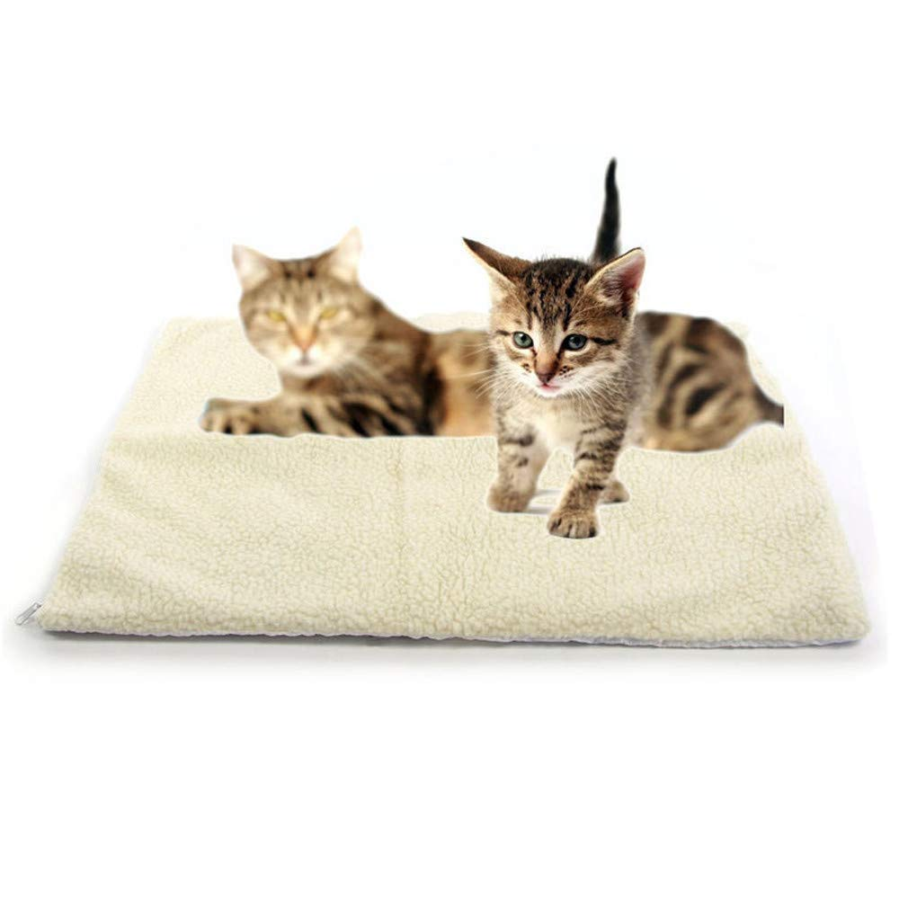 callm Self Heating Dog Cat Pet Bed Thermal Washable No Electric Blanket Required (White, 64cm x 46cm) by callm (Image #1)