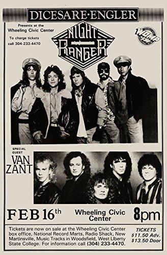 Night Ranger with Van Zant Live 1977 Retro Art Print — Poster Size — Print of Retro Concert Poster — Features Kelly Keagy, Brad Gillis, Jack Blades, Eric Levy and Keri Kelli .
