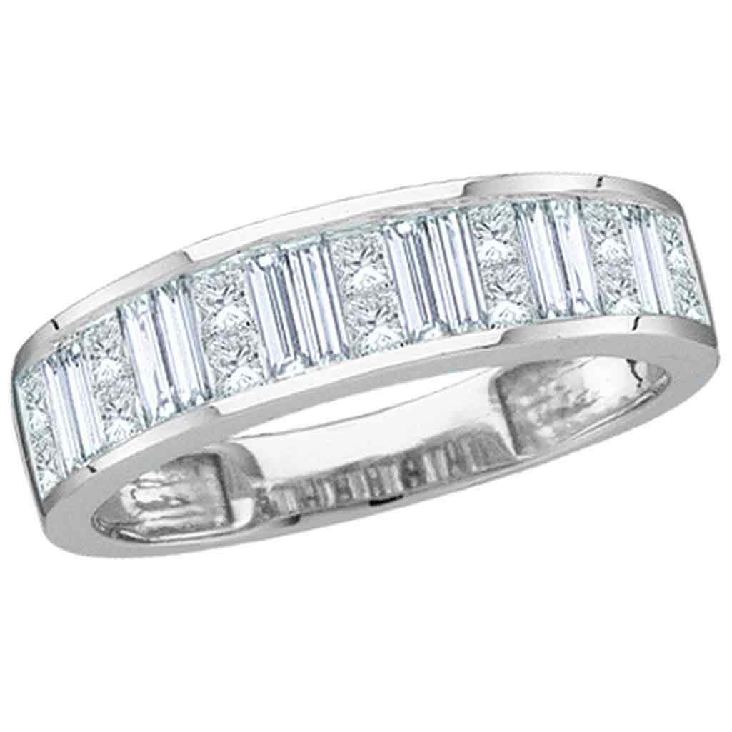 14k White Gold Princess Baguette Diamond Wedding Band Anniversary Ring Stackable Style 1.00 ctw Size 7.5